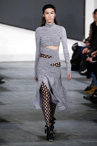 dress turtleneck grey fashion week 2015 shoes