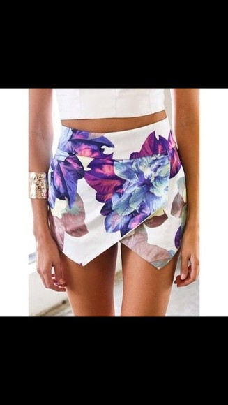 white skirt short skirt floral envelope skirt floral skirt white skirt skort skirt colour flower pretty