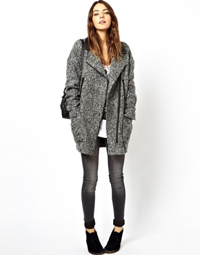 ASOS | ASOS Biker Coat in Texture at ASOS