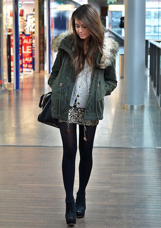 jacket parka girl khaki coat skirt shoes