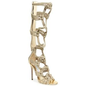 Jimmy Choo Natural Black Gold Keane Gladiator Sandal - Braided Rope - Sale