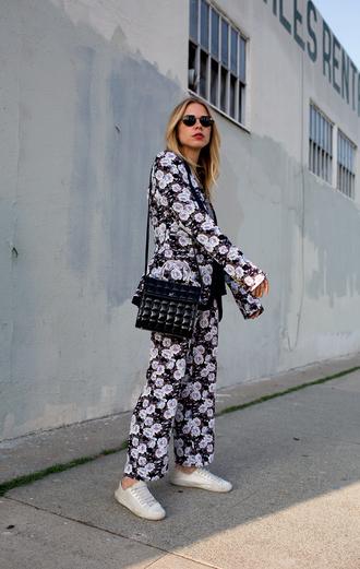 jacket tumblr blazer floral floral blazer pants floral pants sneakers white sneakers bag black bag sunglasses shoes