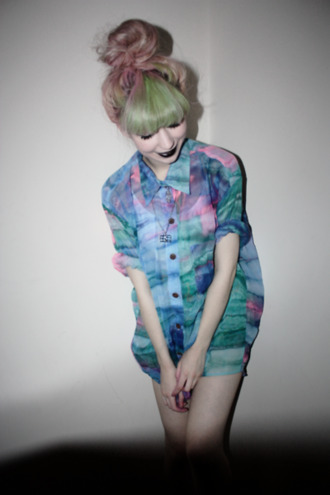 shirt blue cuffed sleeves oversized t-shirt colorful purple