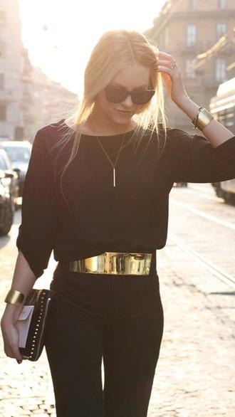 belt gold metal belt pants blouse jewels