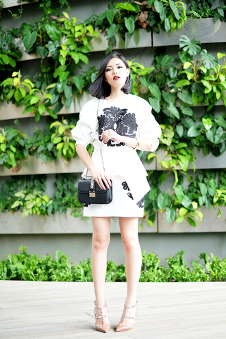 olivia lazuardy blogger bag embellished black and white studded shoes nude high heels white skirt top skirt shoes