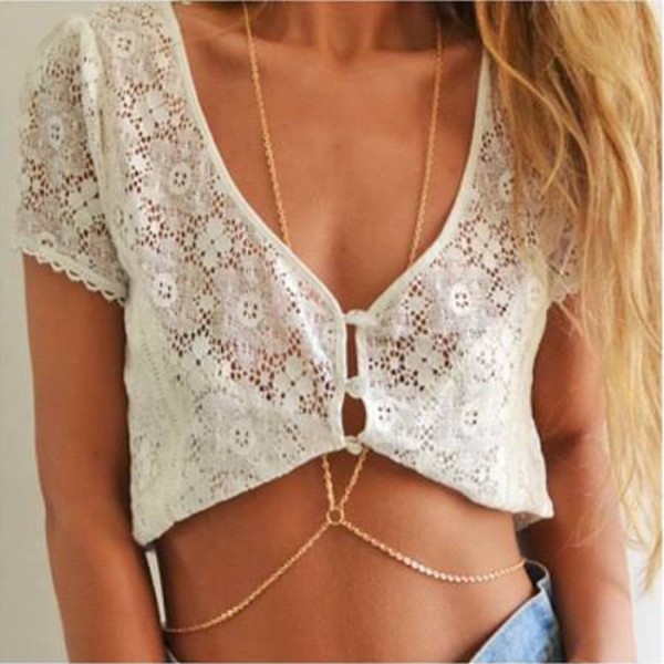 jewels body chain gold body chain jewelery necklace chic beach swimwear couture dream closet couture free shipping