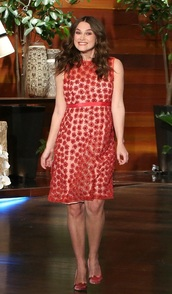 dress,red dress,red,floral,keira knightley,maternity