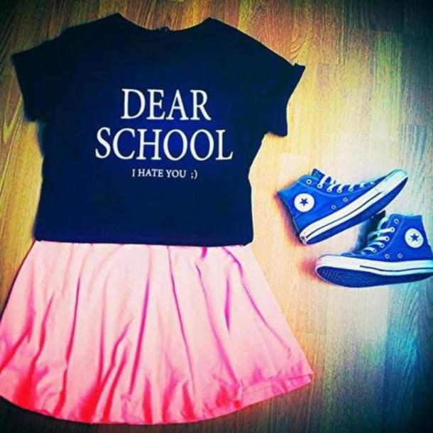 2dc5ceda2849 shirt converse skirt t-shirt pink black white blue