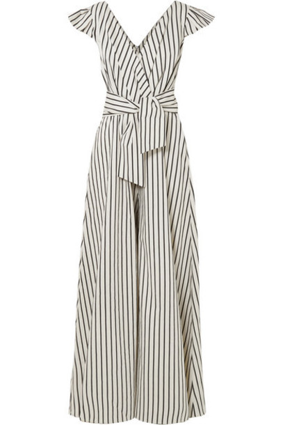 Paper London - Maya Wrap-effect Striped Canvas Jumpsuit - Cream