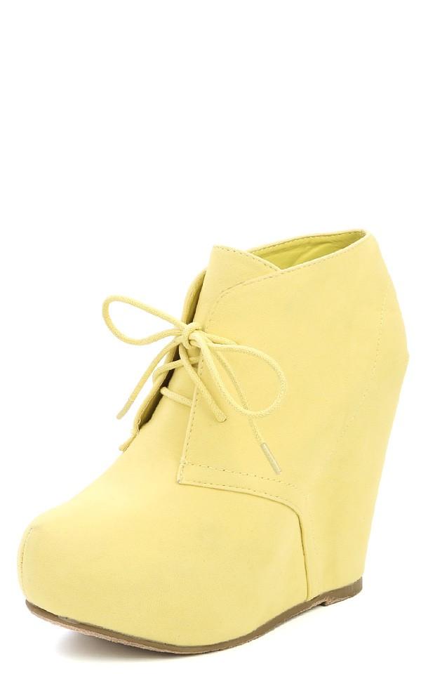 01n lemon lace up wedge booties