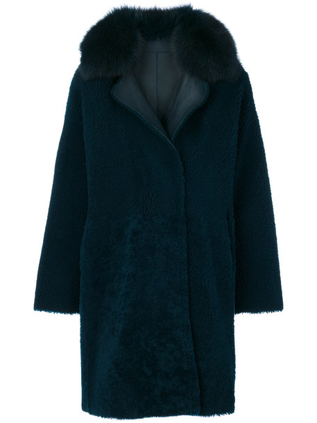 Guy Laroche Vintage coat fur fox women blue