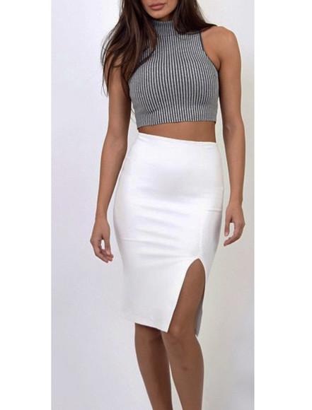 slit skirt midi skirt pencil skirt
