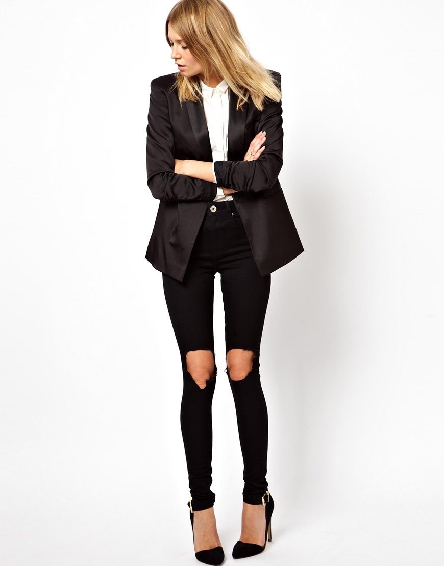 ASOS Ridley High Waist Ultra Skinny Jeans in Clean Black with Busted Knees at asos.com