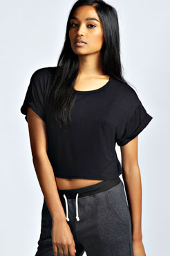 Sarah Crop Roll Back Sleeve Tee at boohoo.com