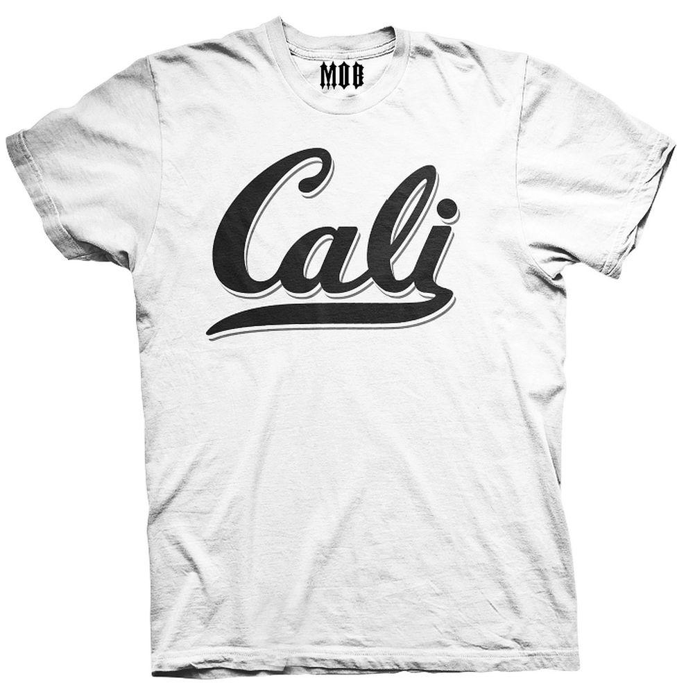 Mob inc cali classic white mens cotton short sleeve graphic t shirt
