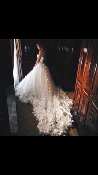 dress wedding dress wedding clothes butterfly white white dress