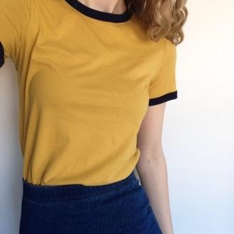 shirt yellow top t-shirt yellow mustard tumblr aesthetic tumblr aesthetic ringer tee top ranger tee crewneck black plain t shirts