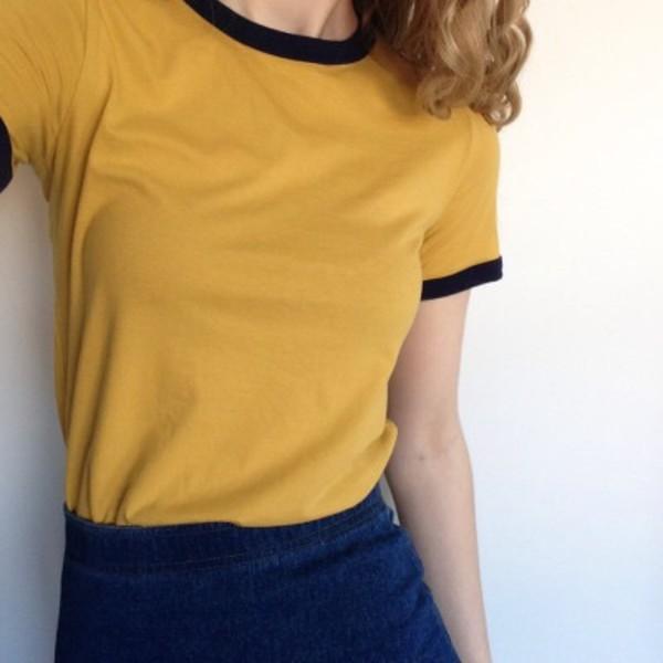 T-shirt shirt yellow top yellow mustard tumblr aesthetic tumblr aesthetic - Wheretoget