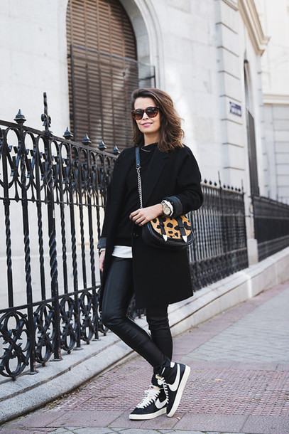 coat black long sweater dress shorts shoes