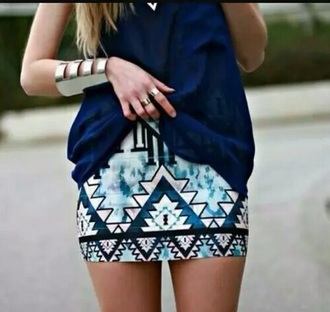 skirt blue skirt aztec print skirt