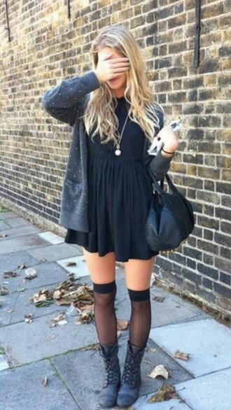 dress black dress black thigh high socks purse cardigan shoes