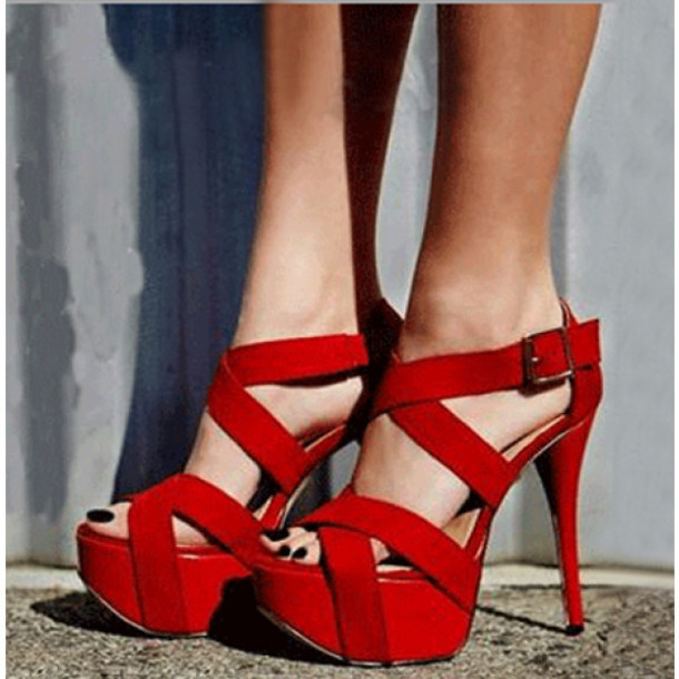 Shoes: red, red shoes, open toes, sexy, sexy shoes, heels, hot ...