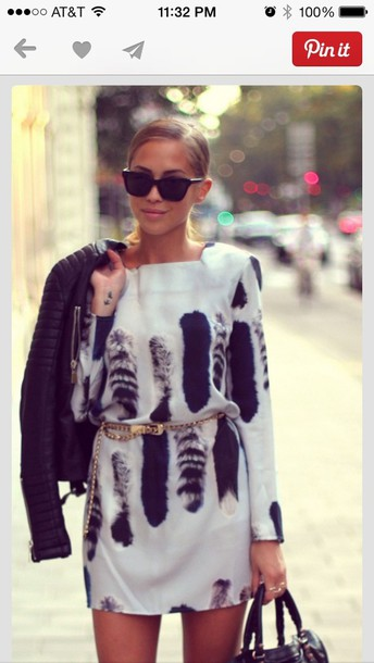 dress jacket sunglasses shoes bag sweater feathers black white comfy white black feather pattern dress fall outfits fashion style cute long sleeves long sleeve dress