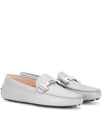 embellished loafers leather grey shoes