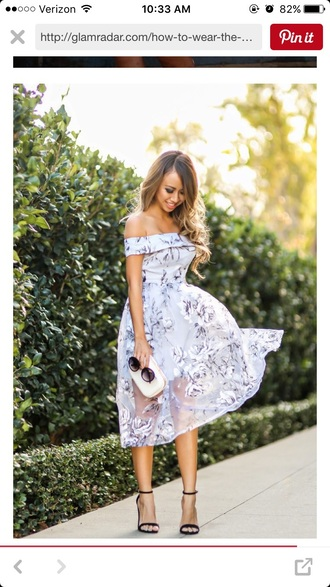 dress off the shoulder fit and flare dress white dress wedding guest midi dress floral dress pastel dress off the shoulder dress cold shoulder sandals black sandals clutch white clutch sunglasses black sunglasses romantic dress