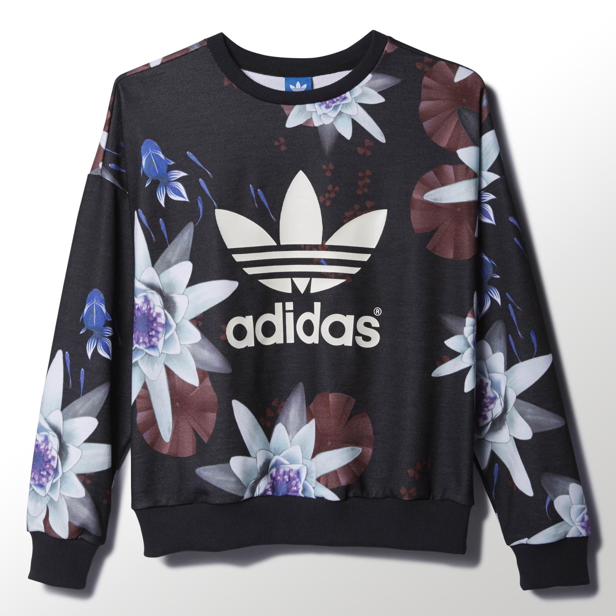 adidas lotus print sweatshirt adidas deutschland. Black Bedroom Furniture Sets. Home Design Ideas