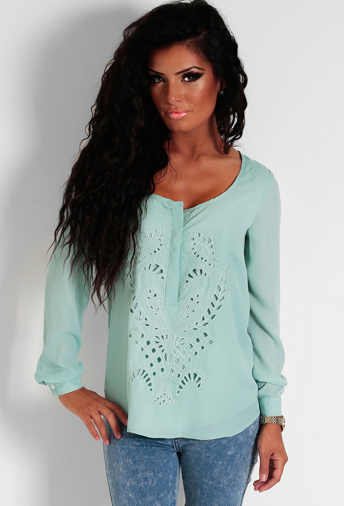 Peppermint Cream Green Pattern Blouse | Pink Boutique