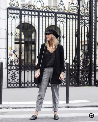 pants grey pants tumblr plaid plaid pants shoes loafers top black top blazer black blazer fisherman cap