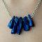 Blue titanium quartz points/wand - silver chain - collar statement necklace