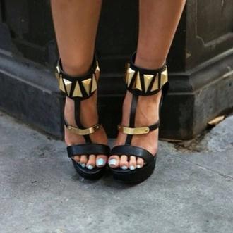 shoes black heels high heels studded gold leather black high heels
