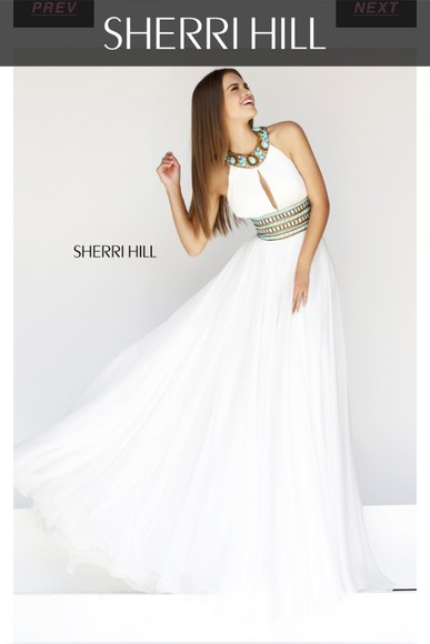 dress long dress white dress sherri hill