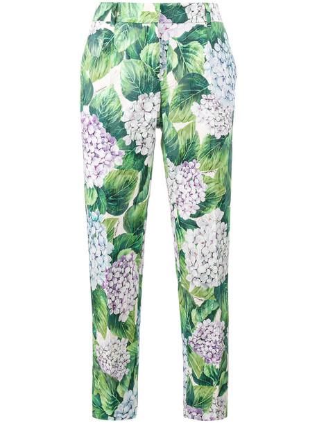 Dolce & Gabbana - hydrangea print tapered trousers - women - Silk/Cotton/Viscose - 42, Green, Silk/Cotton/Viscose