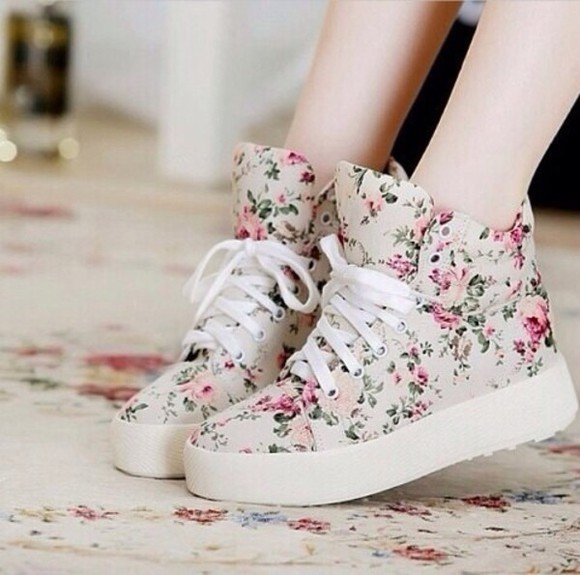 platform shoes platform sneakers floral shoes shoes roses white floral shoes