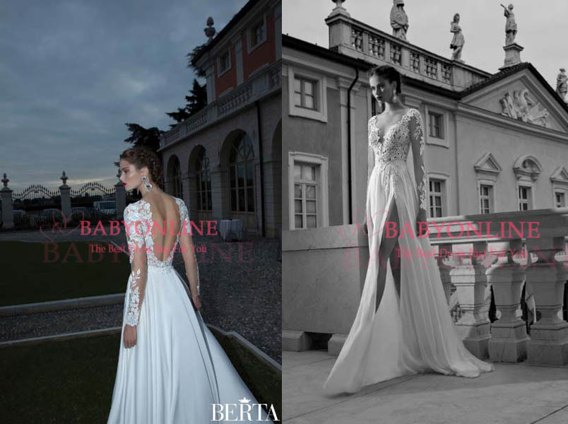 Sexy a line wedding dresses scoop illusion sheer long sleeve lace chiffon backless side split beach berta bridal gowns bo3923