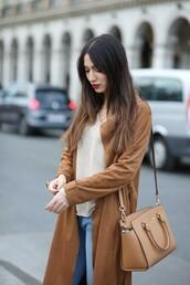 lifestyle,blogger,suede jacket,nude top,michael kors,light blue jeans