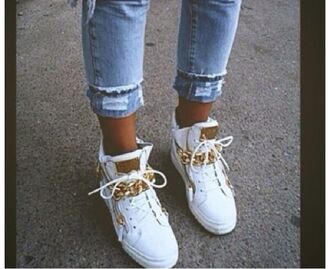 shoes white shoes gold applications hipster swagetti yolo stylish blogger studs in love swag cool white sneakers