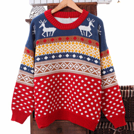 East knitting my 025 2014 korean style autumn winter warm dot christmas deer sweater o neck loose long sleeve pullover for women
