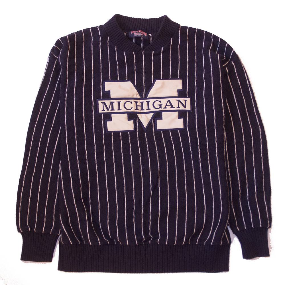 U of m pinstripe sweater
