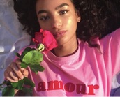 shirt,pink,amour,french,cute,rose,pretty,dainty,delicate,girl