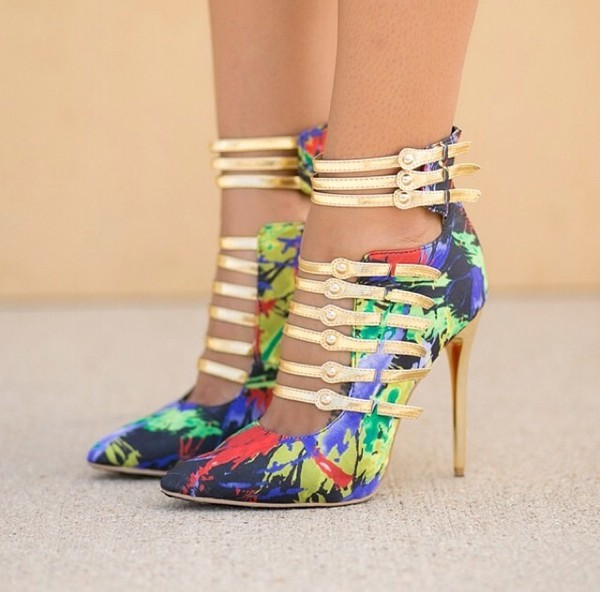 shoes heels multicolored heels