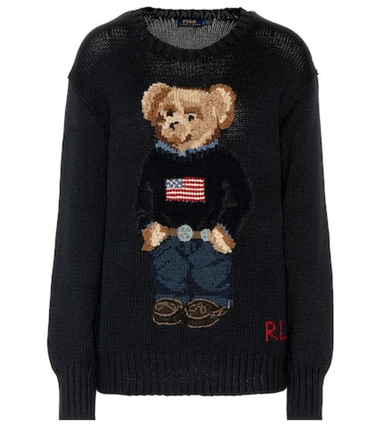 Polo Ralph Lauren Embroidered cotton sweater in blue