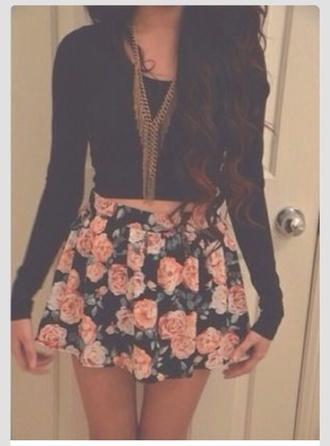 gold necklace gold chain skater skirt black crop top fall outfits flowers floral skirt floral skirt dress shirt top jewels flower skirt vintage tumblr girl tumblr girly outfits tumblr girly roses