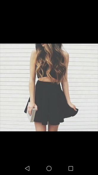 skirt black shirt handbag purse