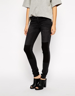 Just female low waist skinny jeans with patches at asos.com