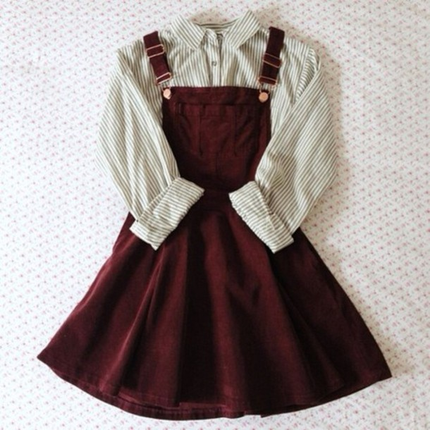 Dress Dungarees Burgundy Blouse Shirt Overall Dress