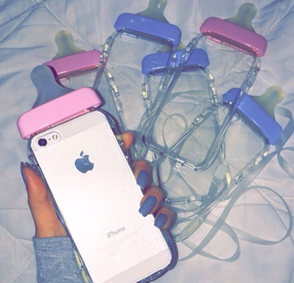 phone cover baby clear phone iphone colorful nails bottle baby bottle case cute girly dope pink blue i phone cover